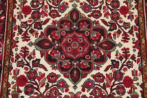 Excellent Floral IVORY/RED Lilian Hamedan Area Rug Hand-made Bedroom Wool 5x8