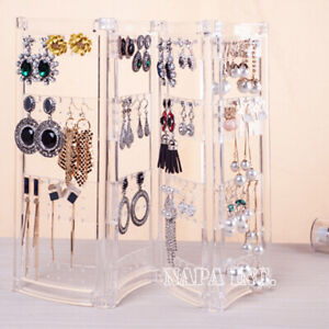 Acrylic Jewelry Organizer Accessories Earrings Necklace Hanging Stand Holder