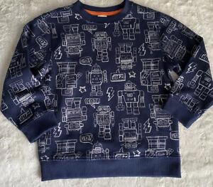 Gymboree Boys Kids Robot Print Sweater Navy Silver Sz 4T Pullover Top