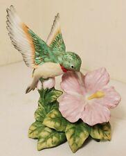 Homco Home Interiors Hummingbird on Hibiscus Flower Porcelain Figurine 1429