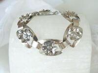"""Vintage Sterling Silver Raised Floral Flower Station Link Handmade Bracelet 7"""""""