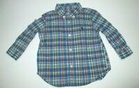 BOYS RALPH LAUREN BLUE & RED PLAID BUTTON DOWN DRESS SHIRT SIZE 9 MONTHS
