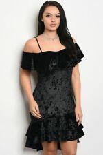 Womens Plus Size Black Velvet Cocktail Dress 2XL Cold Shoulder Mermaid Cut