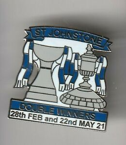 "St Johnstone "" Double Winners 2021 "" - lapel badge butterfly fitting"