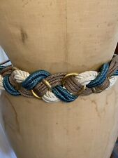 Vintage 80s Rope Belt Blue And White With Gold
