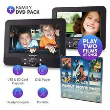 "Voyager In Car DVD Twin Headrest 7"" Inch Screen Portable Players With 4 DVD Pack"