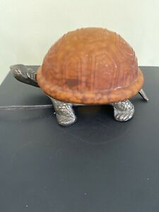 Turtle Lamp ~ Metal & Glass Night Light ~ Brass ~ Bronze Frosted Glass