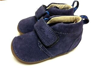 Clarks Tiny Hero Baby First Shoes navy suede flexible rubber sole and toe
