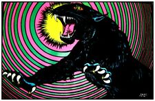 Vintage 1970s Blacklight~PANTHER~Psychedelic Spiral Flocked Poster