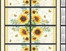 Sunset Blooms Daisy Toss on Charcoal Wood Wilmington YARD Spring Fabric