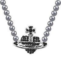 Black Grey Pearl Silver Bridal Orb Galaxy Cross Heart Pendant Necklace N576B
