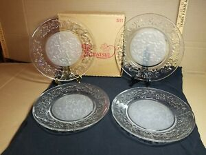 Vintage Princess House Fantasia Crystal Dinner Plates #511 Set of 4 In Box