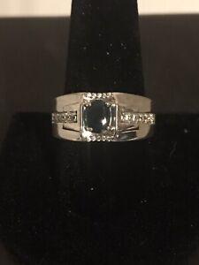 Teal Grandidierite & Zircon Ring /  Platinum Over Silver Size 11