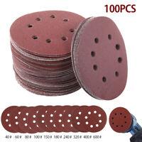 10x 125mm Disques de ponçage Papier de verre abrasif 40 60 80 100 -600 Grit