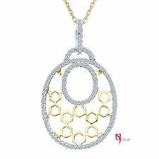 0.80 Ctw Honeycomb Style Round Cut Diamond Rolo Chain Necklace 14k Two-Tone Gold