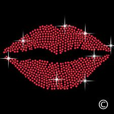 Red Lips Kiss Rhinestone Diamante Transfer Iron On Hotfix Crystal T-Shirt Motif