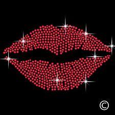 Red Lips Kiss Rhinestone Diamante Transfer Iron On Hotfix Crystal T-Shirt Motif