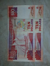 SHIP Series $10 Singapore old note (Running No)