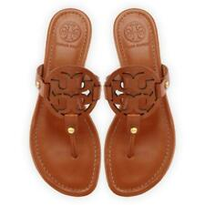 a454afe82424 NIB Tory Burch Miller Leather Logo Flat Slide Sandal VINTAGE VACHETTA BROWN  TAN