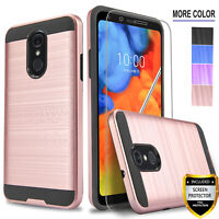 For LG Stylo 4 & 4 Plus Phone Case, Shock Protection+Tempered Glass Protector
