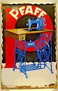 VINTAGE PFAFF SEWING MACHINE ADVERTISE SIGN PORCELAIN ENAMEL MADE IN GERMANY