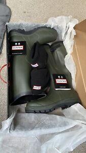 Men's Hunter Adjustable Green Boots Wellies UK 9 Socks Including Brand New.
