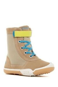 PLAE Waterproof Tan Beige Blue Boots Noel Suede Stripe Boys Girls Kids 12 snow