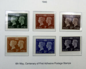 Great Britain Postage Stamps: 1940 Centenary of First Adhesive Postage Stamps