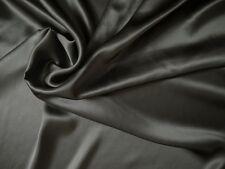 100 % Seide Crepe Satin - dunkelgrau, Top Qualität Meterware ca. 114 cm breit