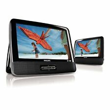"Philips PD9012/37 9"" Dual Screen Portable Car DVD Player w/ Speaker - Black"
