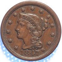 "1847 ""BRAIDED HAIR"" LARGE CENT, AU/CHOICE AU, ORIGINAL GLOSSY BROWN SURFACES!"