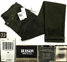 HUDSON BYRON NWT$176 STRAIGHT GREEN JEANS BUTTON FLY 98%COTTON MADE IN USA SZ 33