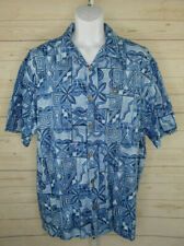QUICKSILVER Mens SIZE L Blue Gray Hawaiian Floral Short Sleeve Button Up Shirt