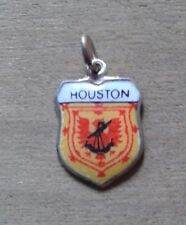 Houston Coat of Arms / Family Crest Silver Plated Enamel Charm