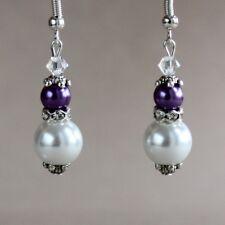 Vintage white purple pearl crystal silver wedding bridesmaid bridal earrings