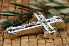 Olive Wood Mother of Pearl Cross Greek & Russian Orthodox Crucifix Jerusalem New