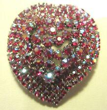 Vintage Large Red Aurora Borealis Rhinestone HEART Brooch Pin Stones Prong Set