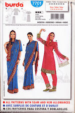 BURDA SEWING PATTERN 7701 MISSES 8-20 INDIAN COSTUME, SARI TUNIC TOP SKIRT PANTS
