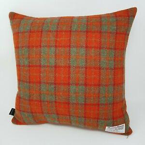 Winter RED ORANGE Check HARRIS TWEED Wool handmade cushion cover all sizes