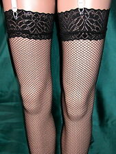 BLACK FISHNET STOCKINGS WITH FLORAL LACE TOPS - PRETTY AND VERY SEXY! NEW SEALED