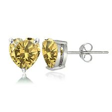 Sterling Silver Citrine 7mm Heart Stud Earrings