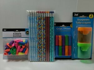 Pencils Erasers Sharpeners & Grip Cushions Bundle Head Start School Shopping