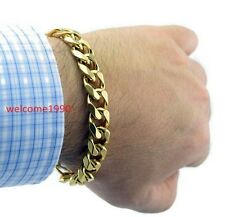 Chain Bracelet Men Jewelry 13mm 8.66'' Gold Plated Stainless Steel Curb Link