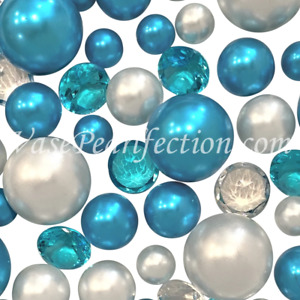 120 Floating Blue Turquoise & White Pearls + Matching Gem Accents - No Hole Jumb