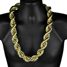 """Mens 14k Gold Plated Huge Rope Hip Hop Chain 30MM x 30"""" Hollow Dookie Necklace"""
