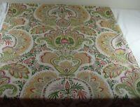 Jay Yang Fabrics Woven Linen Upholstery Floral Medallion 3yds Cream Green Beige
