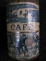 SCARCE Antique Bicycle 1897 CAFE/COFFEE TIN/Paris! AMAZING GRAPHICS! 1of-a-kind?