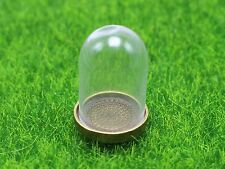 DIY Miniature Glass Display Dome with Bronze Metal Base Memory Locket 25X38mm
