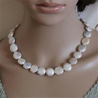 """Genuine Natural 13-14mm White Coin Freshwater Cultured Pearl Necklace 18"""" AAA"""
