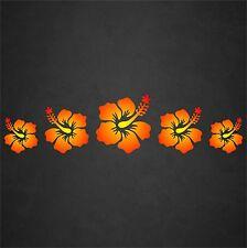 Hibiscus Flower Decal Sticker Row Hawaiian Car Window Beach Tropical Red/Yel